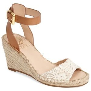 Vince Camuto Lace Ankle Strap Wedge Espadrilles